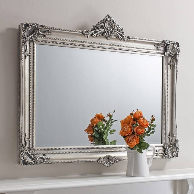 Large Silver Baroque Frame Over Mantel Mirror Pertaining To Silver Baroque Mirrors (#12 of 30)