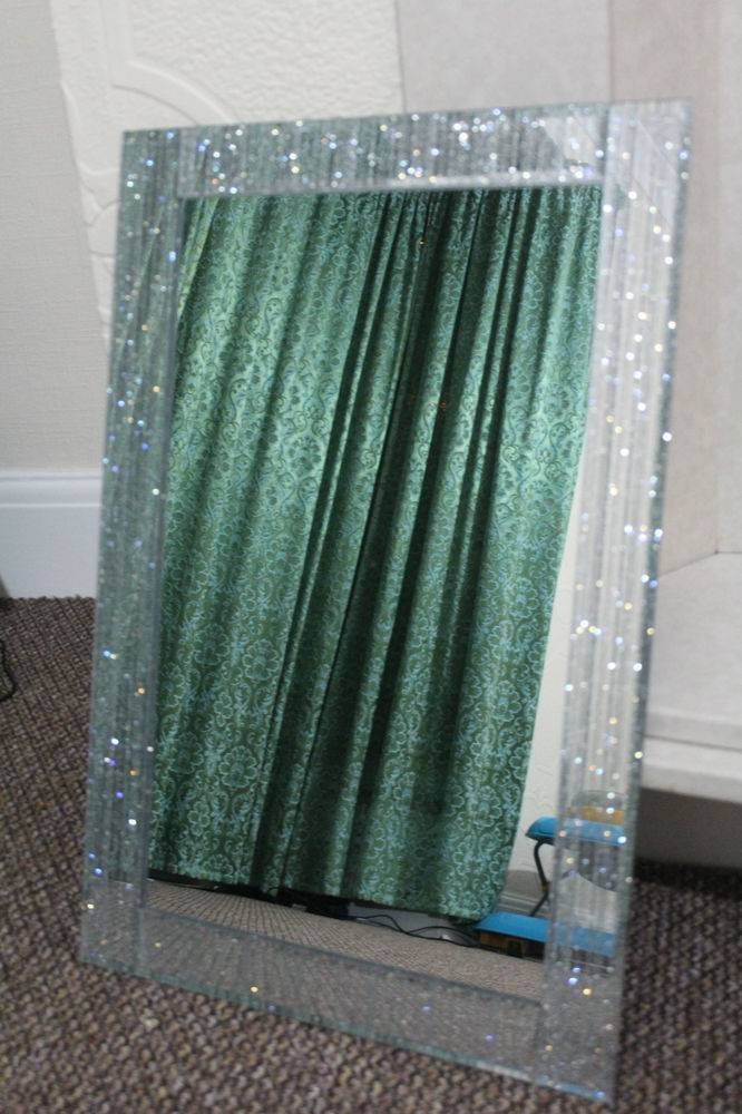 Large Silver Glitter Frame Wall Mirror Silver Sparkle Girls Room In Glitter Wall Mirrors (#22 of 30)