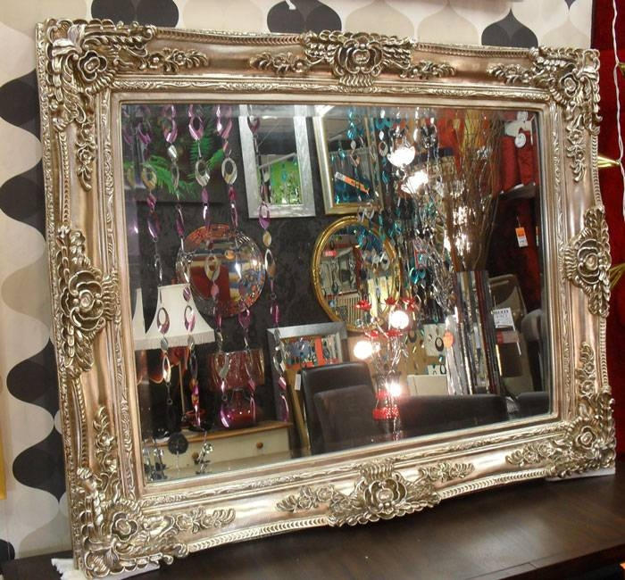 Large Silver Ornate Vintage Bevelled Wall Mirror 117X88Cm In Large Silver Vintage Mirrors (#24 of 30)