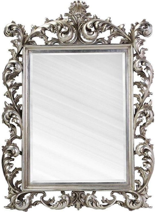 Large Silver Rococo Mirror French Aged | Mirrors In Black Rococo Mirrors (#23 of 30)
