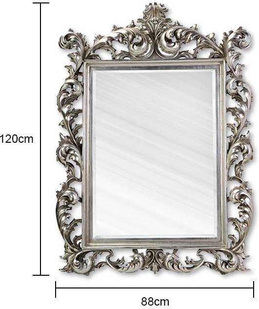 Large Silver Rococo Mirror French Aged   Mirrors In French Rococo Mirrors (#11 of 15)