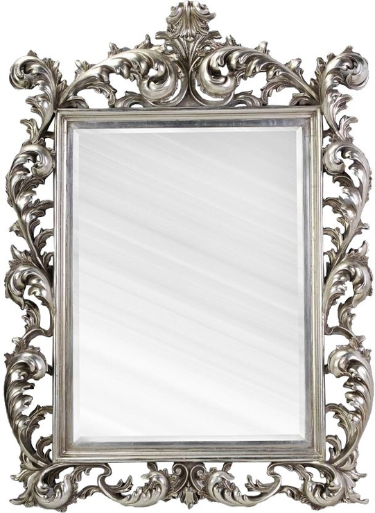 Large Silver Rococo Mirror French Aged   Mirrors Intended For French Rococo Mirrors (#12 of 15)