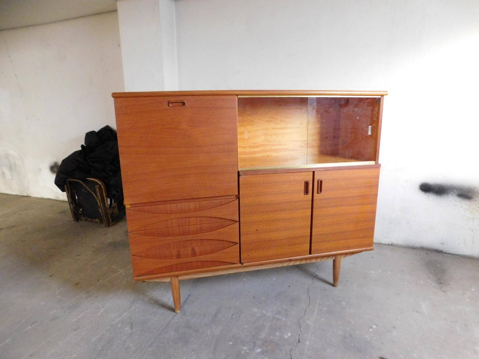 Large Teak Sideboard With Sliding Glass Doors, 1960S For Sale At With Regard To Glass Sideboard (#14 of 20)
