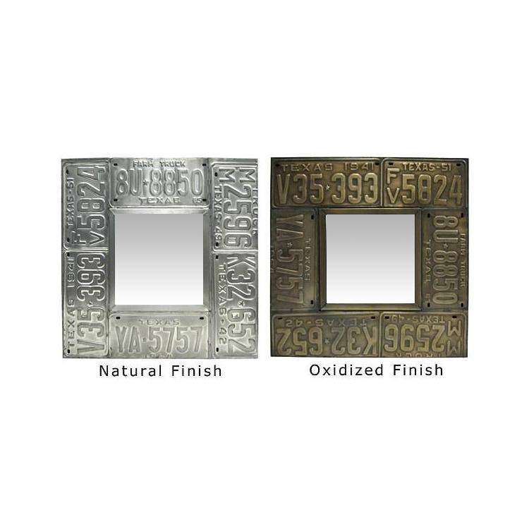 Large Tin Mirrors Collection – Square License Plate Mirror – Mir240 With Large Square Mirrors (#22 of 30)