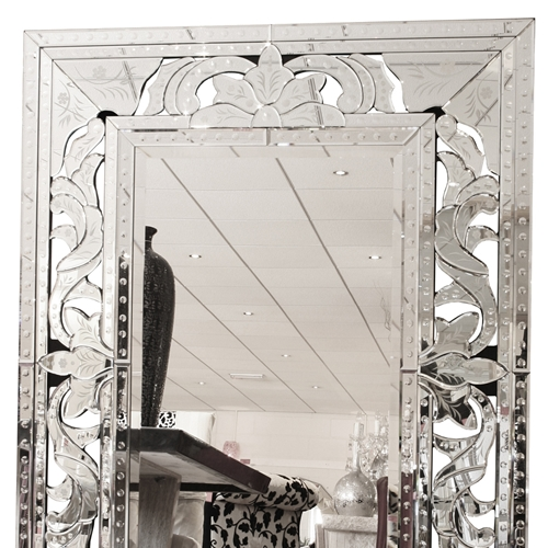 Large Venetian Glass Mirror In Silvermade With Love Inside Large Venetian Mirrors (#11 of 20)