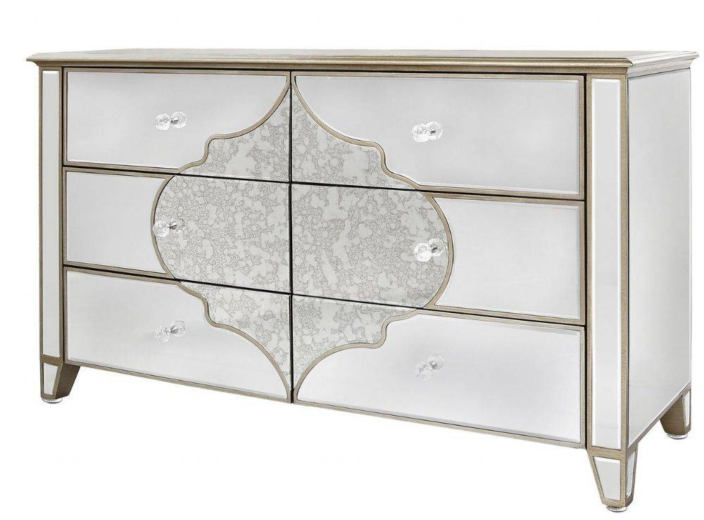 Large Venetian Mirrored Chest Of 6 Drawers With Gold Pattern Intended For Venetian Mirrored Chest Of Drawers (#5 of 20)