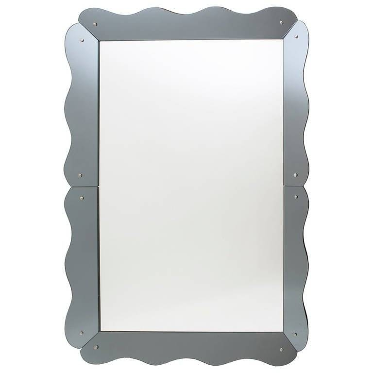 Large Venetian Style Mirror With Scalloped Grey Mirrored Frame With Venetian Style Mirrors (#12 of 30)