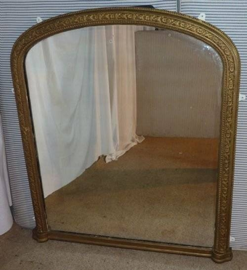 Large Victorian Gold Arched Over Mantle Mirror | 161445 With Large Overmantle Mirrors (View 22 of 30)
