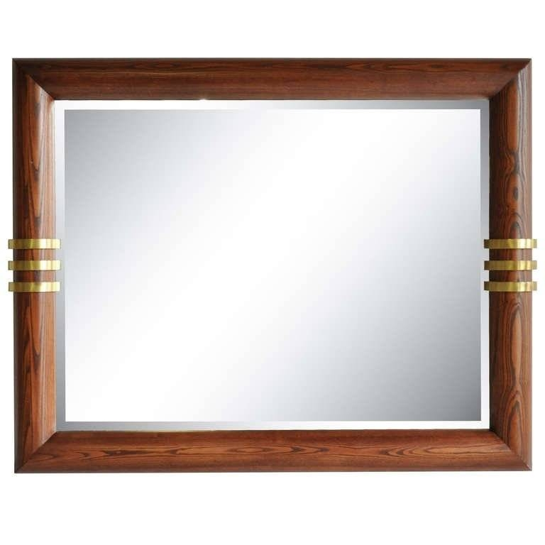 Large Vintage Oak And Triple Bronze Band Beveled Glass Wall Mirror Pertaining To Oak Wall Mirrors (#5 of 15)