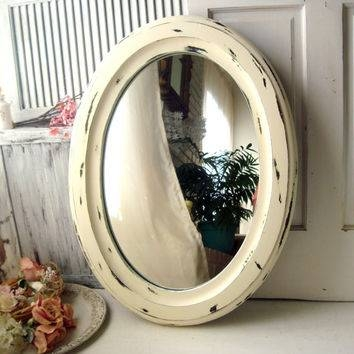 Large Vintage Oval Mirror, Cream From Willowsendcottage On Etsy Regarding Distressed Cream Mirrors (#24 of 30)