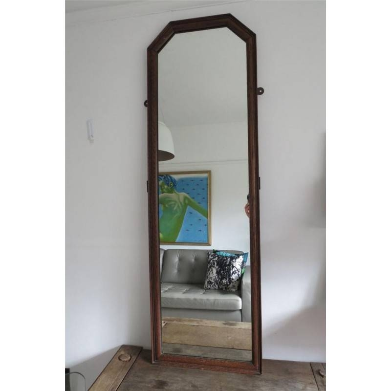 Large Vintage Wooden Oak Framed Full Length Dressing Wall Mirror Throughout Antique Full Length Mirrors (#15 of 20)