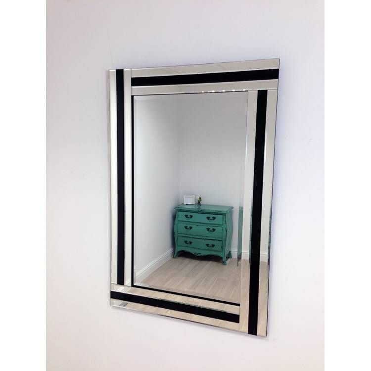 Large Wall Mirror In Triple Glass Frame With Black Detail 120 X 80 Regarding Black Large Mirrors (#13 of 20)