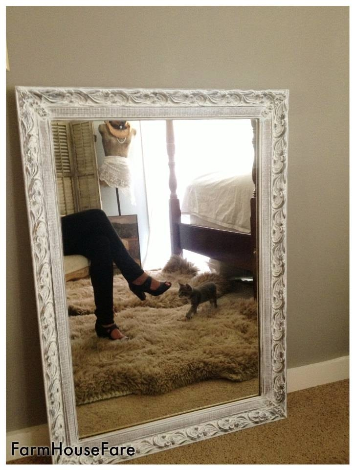 Large Wall Mirror Shabby Chic White Chalk Paint Ornate Pertaining To Shabby Chic White Mirrors (#20 of 30)