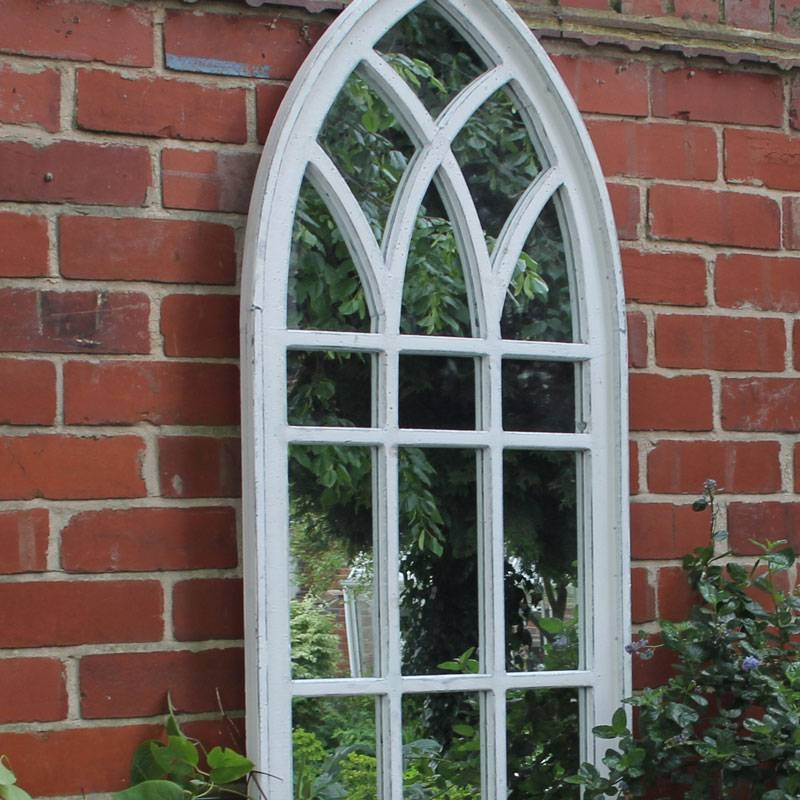Large White Arch Window Mirror – Melody Maison® Pertaining To Window Arch Mirrors (View 16 of 20)