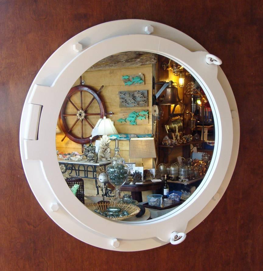 Large White Painted Nautical Porthole Style Mirror (New): Skipjack In Porthole Style Mirrors (#9 of 20)