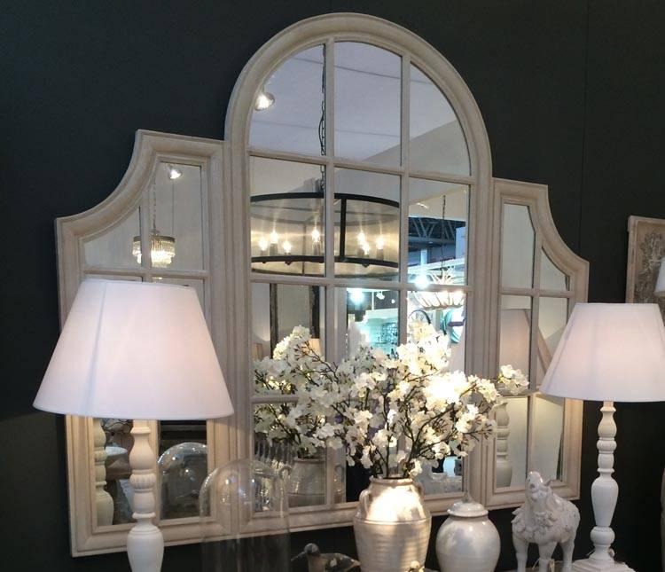 Large Wooden Framed Triple Windowpane Mirror 179X150Cm Triple Regarding Window Mirrors (#18 of 30)
