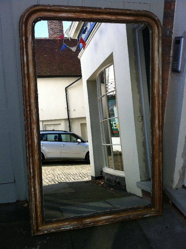 Large19th Century French Curved Top Distressed Wall Mirror With Curved Top Mirrors (View 15 of 30)