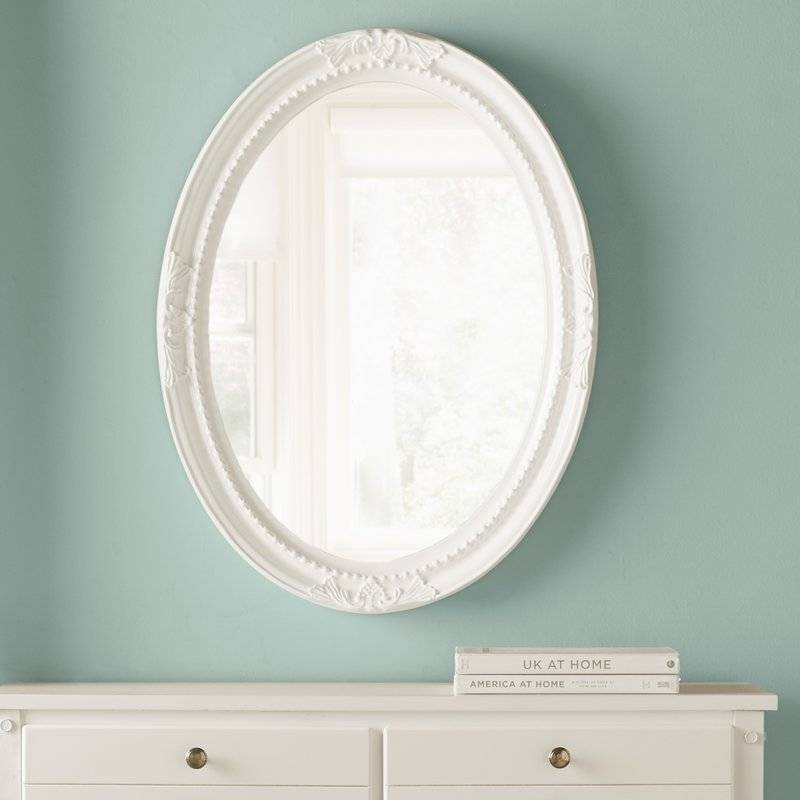 Lark Manor Oval White Wood Wall Mirror & Reviews | Wayfair Within White Oval Wall Mirrors (#12 of 30)