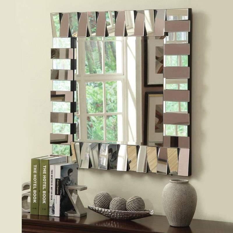 Latitude Run Square Silver Wall Mirror & Reviews | Wayfair Regarding Square Wall Mirrors (View 14 of 20)