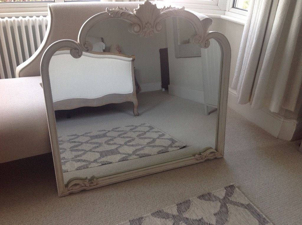 Laura Ashley Distressed Cream White Ornate Huge Large Shabby Chic Intended For Large Overmantle Mirrors (View 24 of 30)