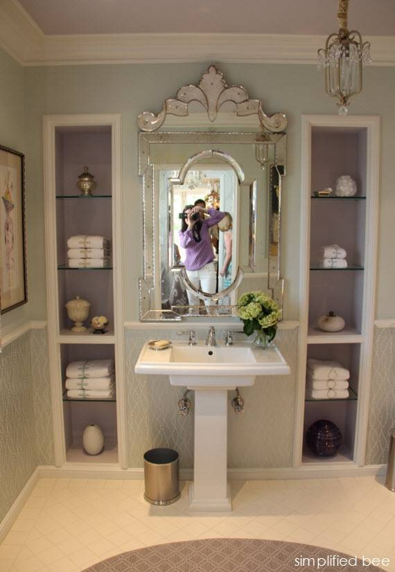 Lavender Bathroom With Venetian Mirror – Simplified Bee Regarding Venetian Bathroom Mirrors (#6 of 20)