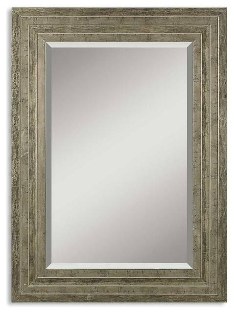 Layered Distressed Silver Frame Wall Mirror – Transitional – Wall With Distressed Silver Mirrors (#13 of 20)
