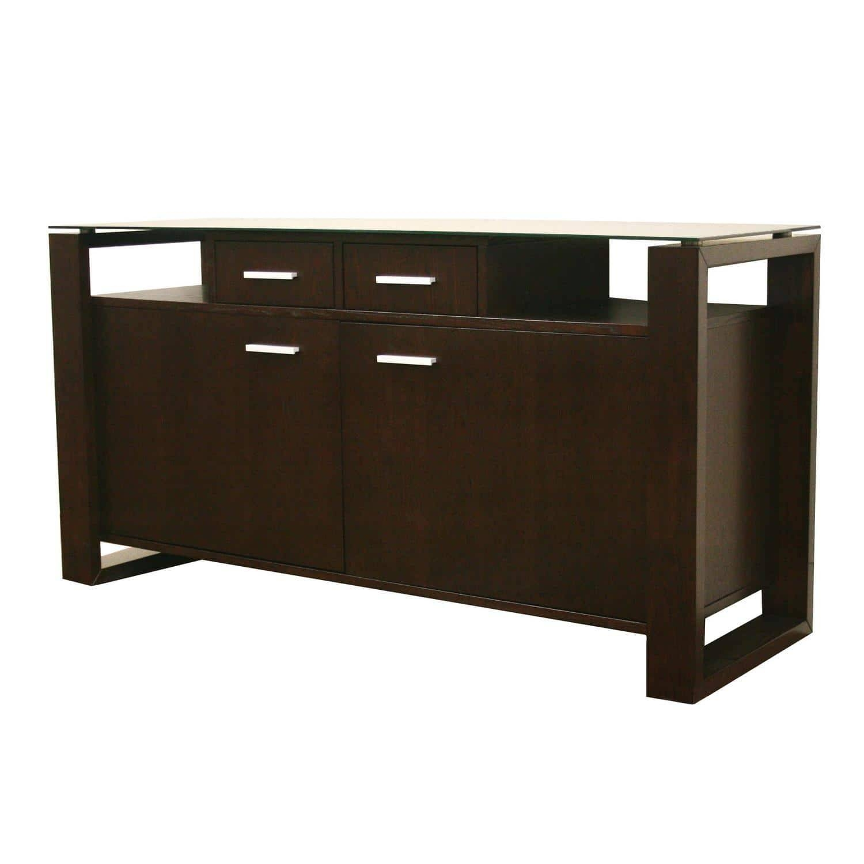 Layton Dark Brown Wood/ Glass Modern Sideboard – Free Shipping With Regard To Dark Brown Sideboard (#12 of 20)