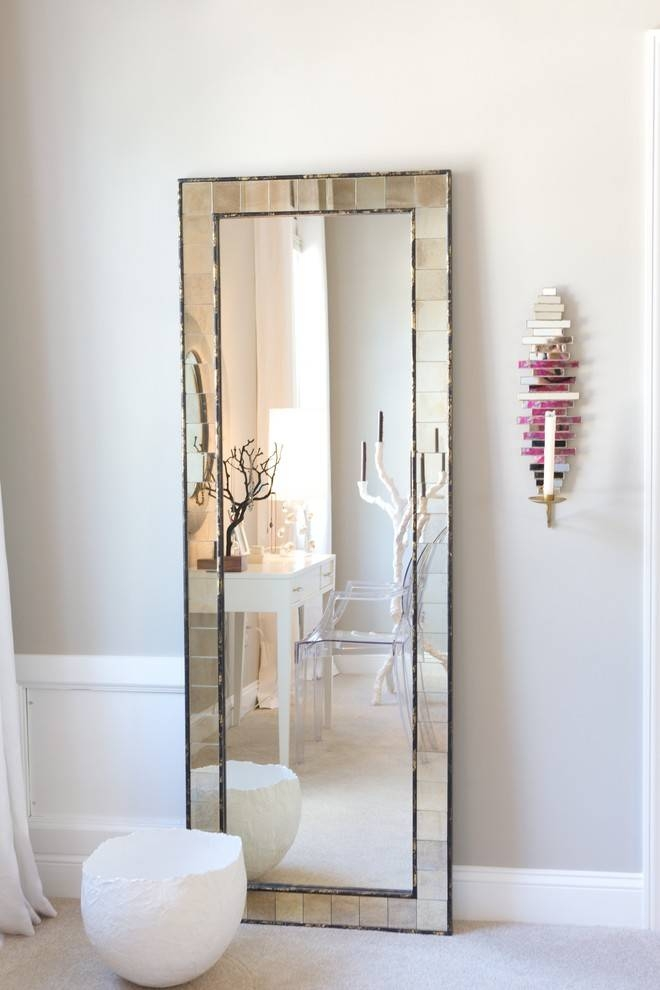 Leaner Mirror Bedroom Contemporary With Baseboards Candle Sconce Within Floor Dressing Mirrors (#14 of 15)