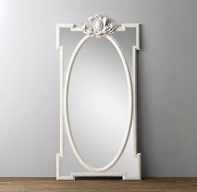 Leaner White Antique Mirror In Antique White Oval Mirrors (View 16 of 20)