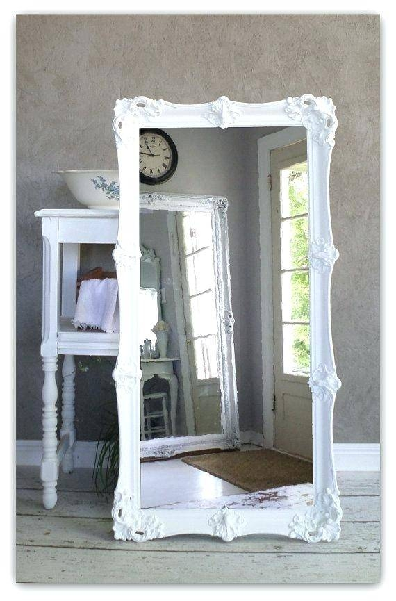 Leaning White Baroque Mirror Large Shabby Chic Vintage Leaner With Shabby Chic White Mirrors (#21 of 30)