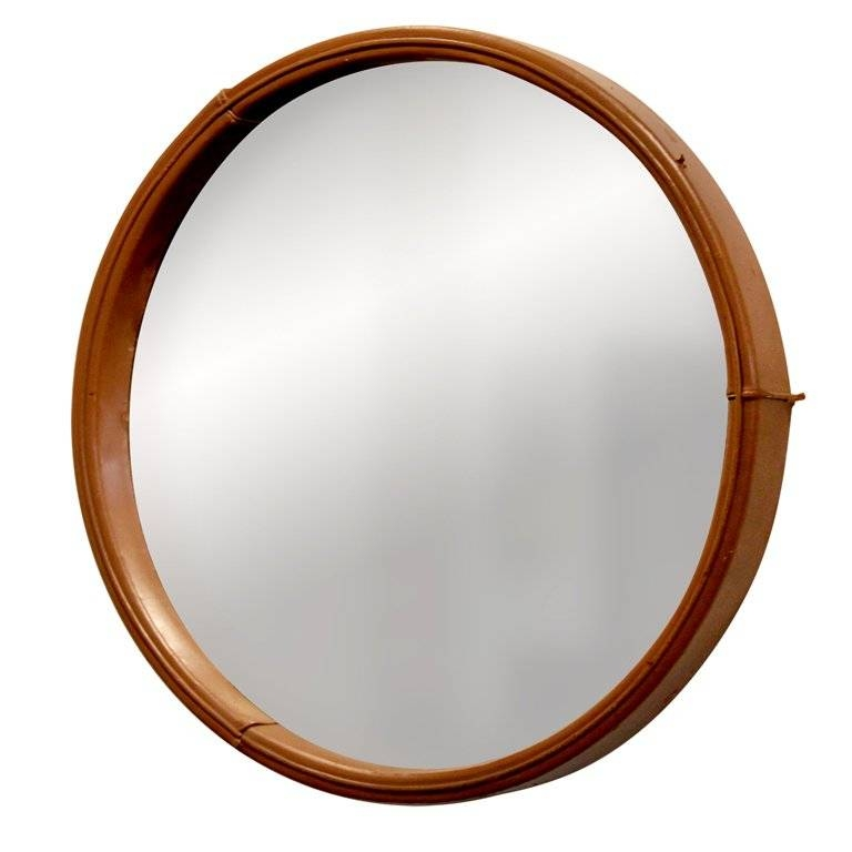 Leather Framed Round Mirrorjorge Zalszupin For L'atelier At Regarding Round Leather Mirrors (#16 of 30)