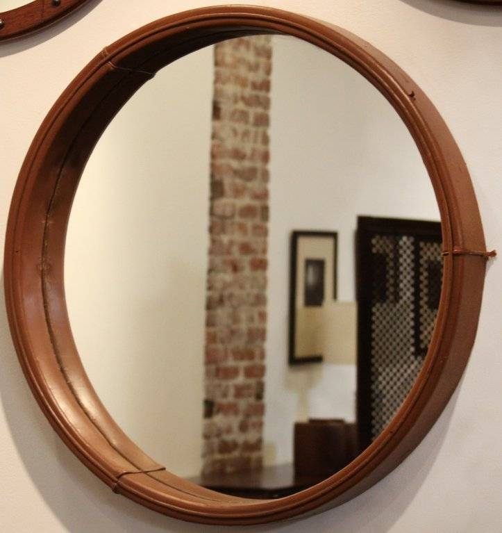 Leather Framed Round Mirrorjorge Zalszupin For L'atelier At With Round Leather Mirrors (#17 of 30)