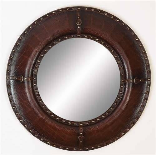 Leather Mirror With Leather Finish And Brass Metallic Rivets Throughout Leather Round Mirrors (#10 of 20)