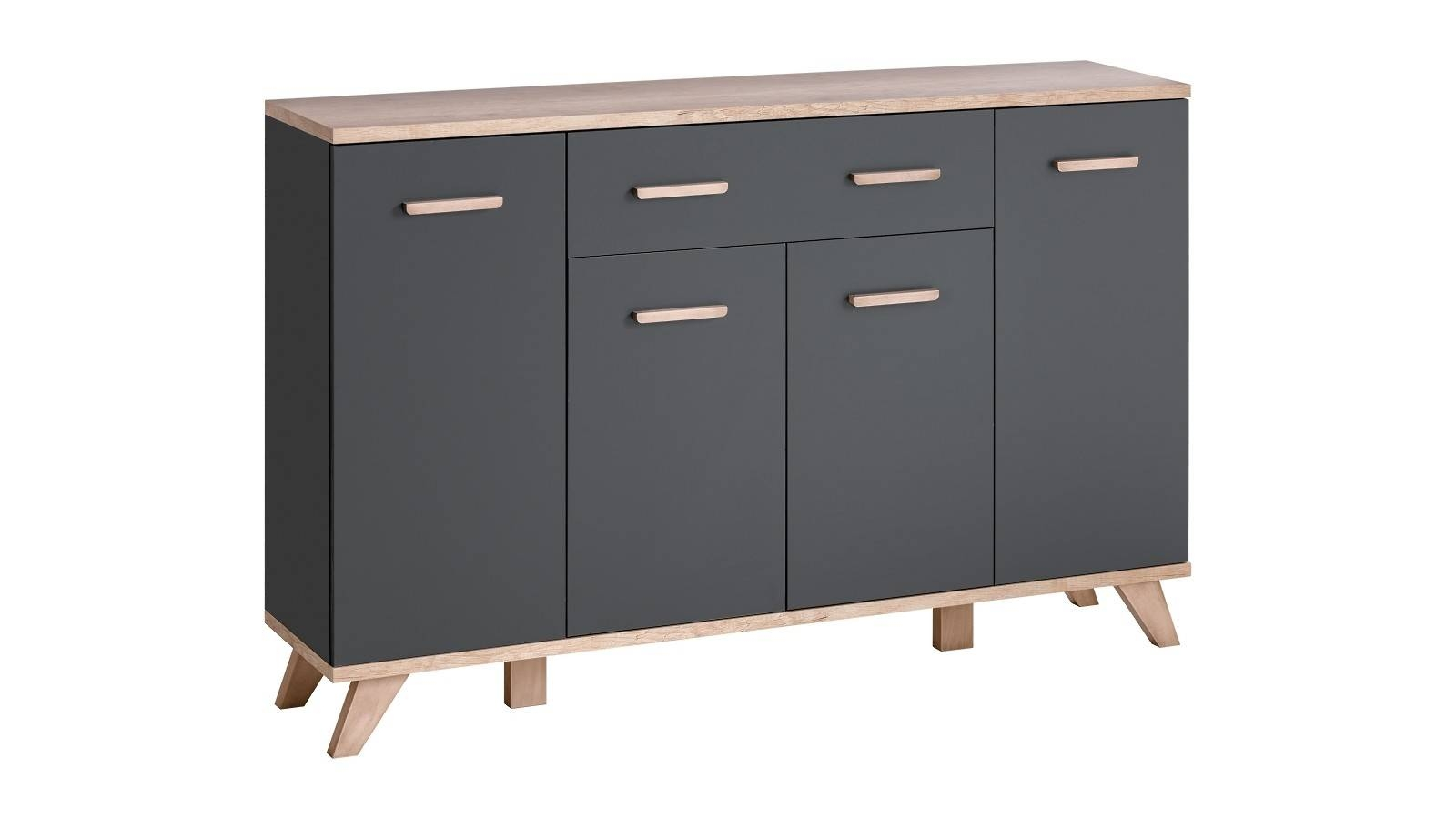 Legg Grey Sideboard 3 Graphite – Extreme Furniture Limited With Regard To Grey Sideboard (#10 of 20)