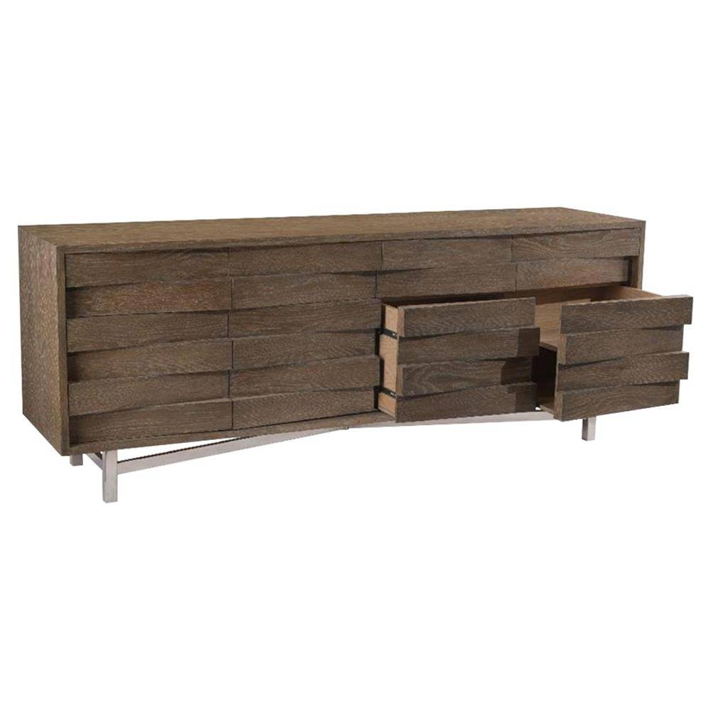 Leland Rustic Lodge Woven Grey Wood Sideboard | Kathy Kuo Home Intended For Grey Wood Sideboard (#10 of 20)