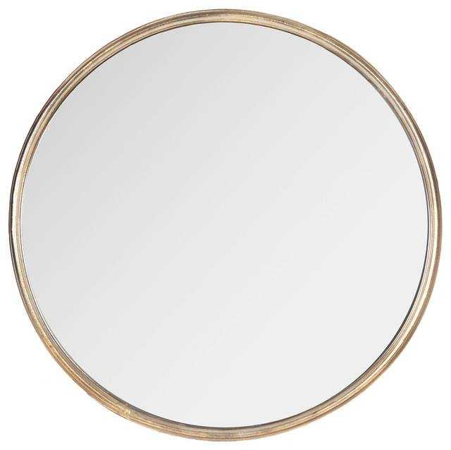 Libby Hollywood Regency Thin Frame Antique Bronze Round Mirror, 14 Within Large Round Gold Mirrors (#24 of 30)