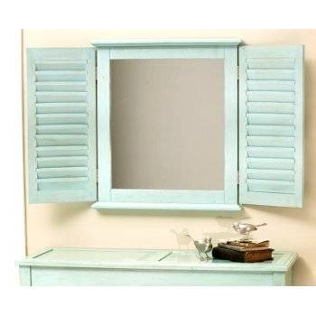 Light Blue Shutter Mirror Pertaining To Window Shutter Mirrors (#23 of 30)