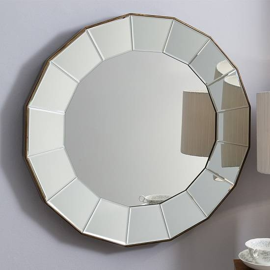 Lindsey Wall Mirror Round In Warm Bronze With Bevelled With Regard To Round Bevelled Mirrors (#8 of 20)