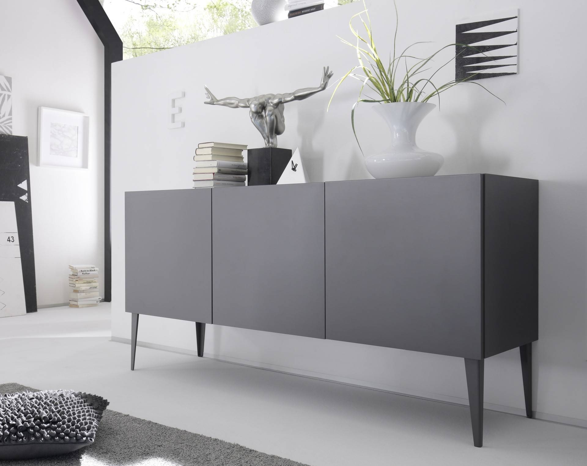 Livia – Grey Or White Matt Lacquered Sideboard – Sideboards – Sena With Grey Sideboard (#11 of 20)