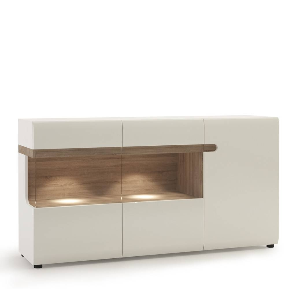 Living 3 Door Glazed Sideboard In White With An Truffle Oak Trim Within High Gloss Sideboard (#12 of 20)