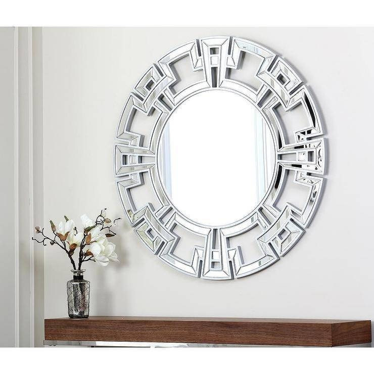 Inspiration about Living Pierre Greek Key Silver Round Wall Mirror Throughout Designer Round Mirrors (#10 of 20)