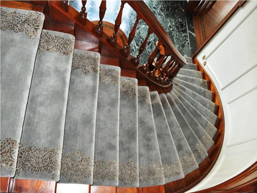 Living Room Amusing And Very Elegant Stair Treads Carpet For Your Regarding Stair Tread Rug Pads (#14 of 20)