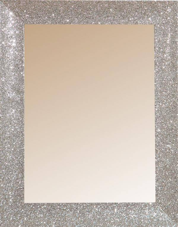 London Collection, Mirrors With Silver Or White Glitter Finish With Silver Glitter Mirrors (View 4 of 20)