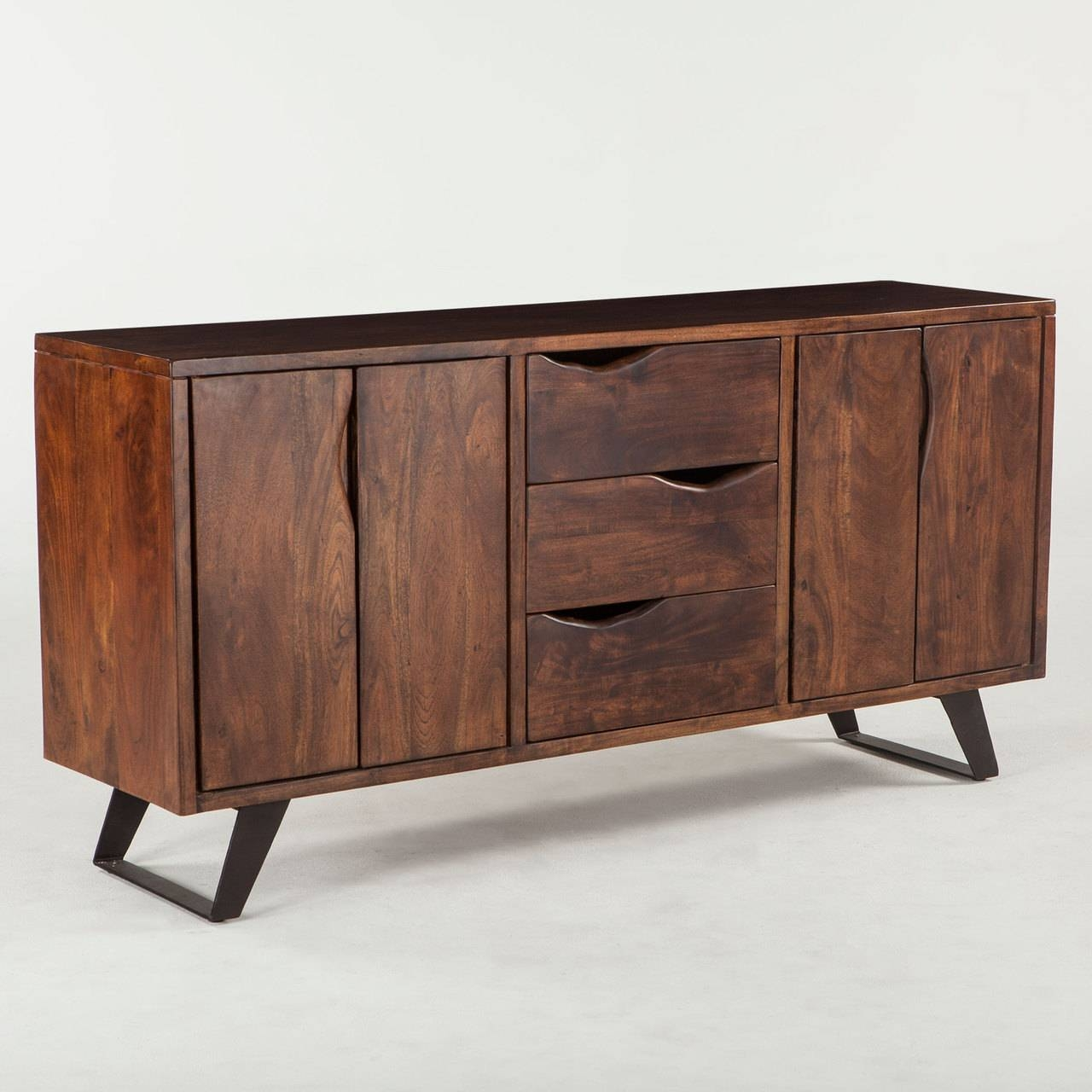 London Loft 68″ Solid Wood Sideboard In Walnut W/ Steel Legs Regarding Real Wood Sideboard (#8 of 20)