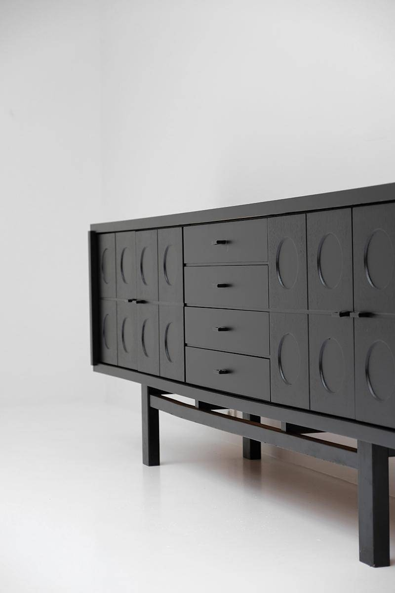 Long Black Brutalist Sideboard, 1970S For Sale At Pamono Throughout Sideboards Black (#8 of 20)