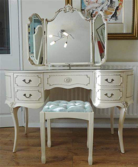 Louis Dressing Table With Triple Mirror Inside French Style Dressing Table Mirrors (#18 of 20)
