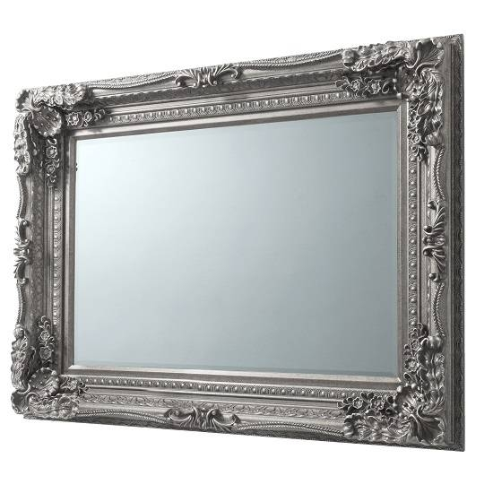 Louisa Rectangular Wall Mirror In Silver With Baroque Style Throughout Silver Baroque Mirrors (#14 of 30)