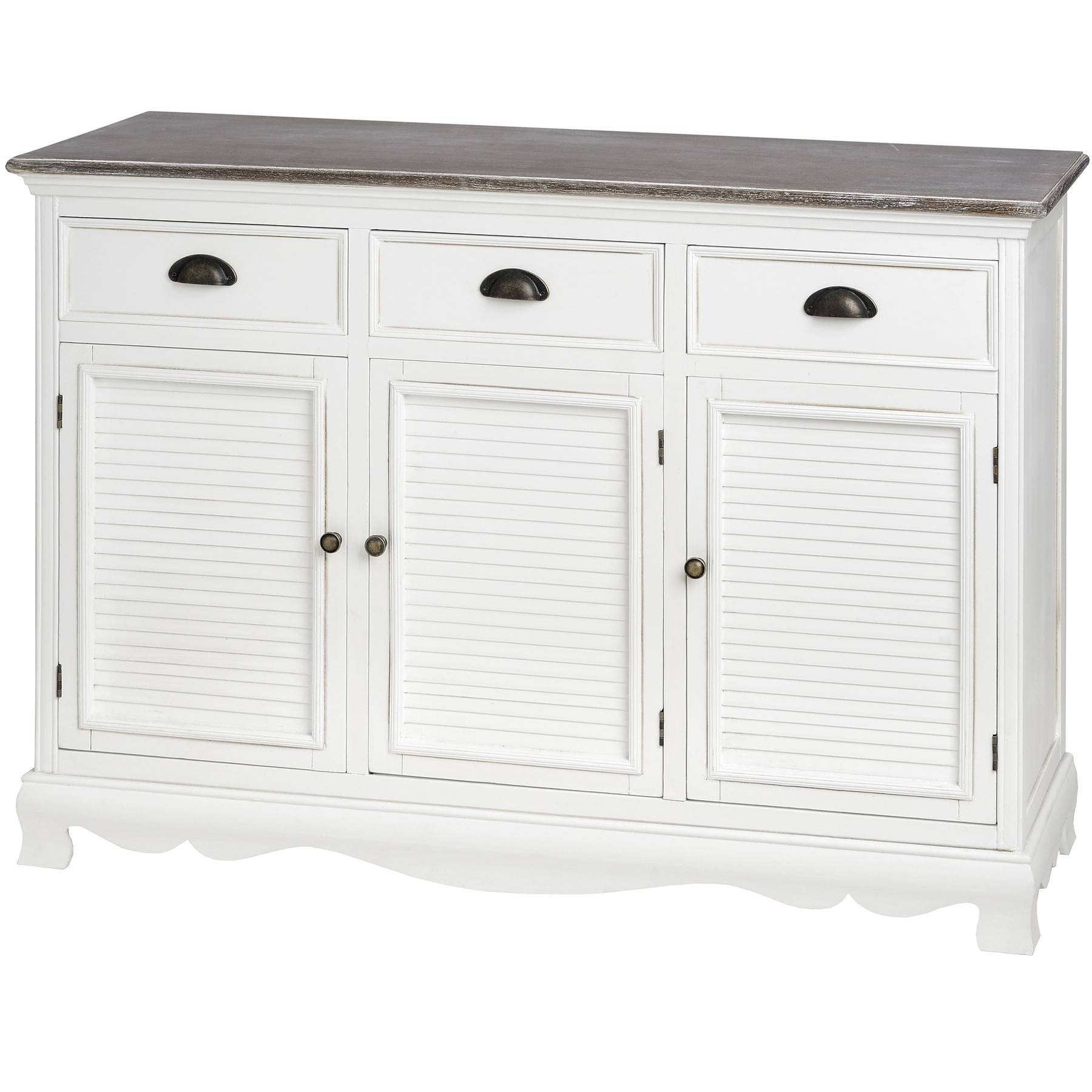 Louisiana Large White Sideboard With 3 Doors| Bedroom Furniture Direct Inside White Sideboard Cabinet (View 10 of 20)