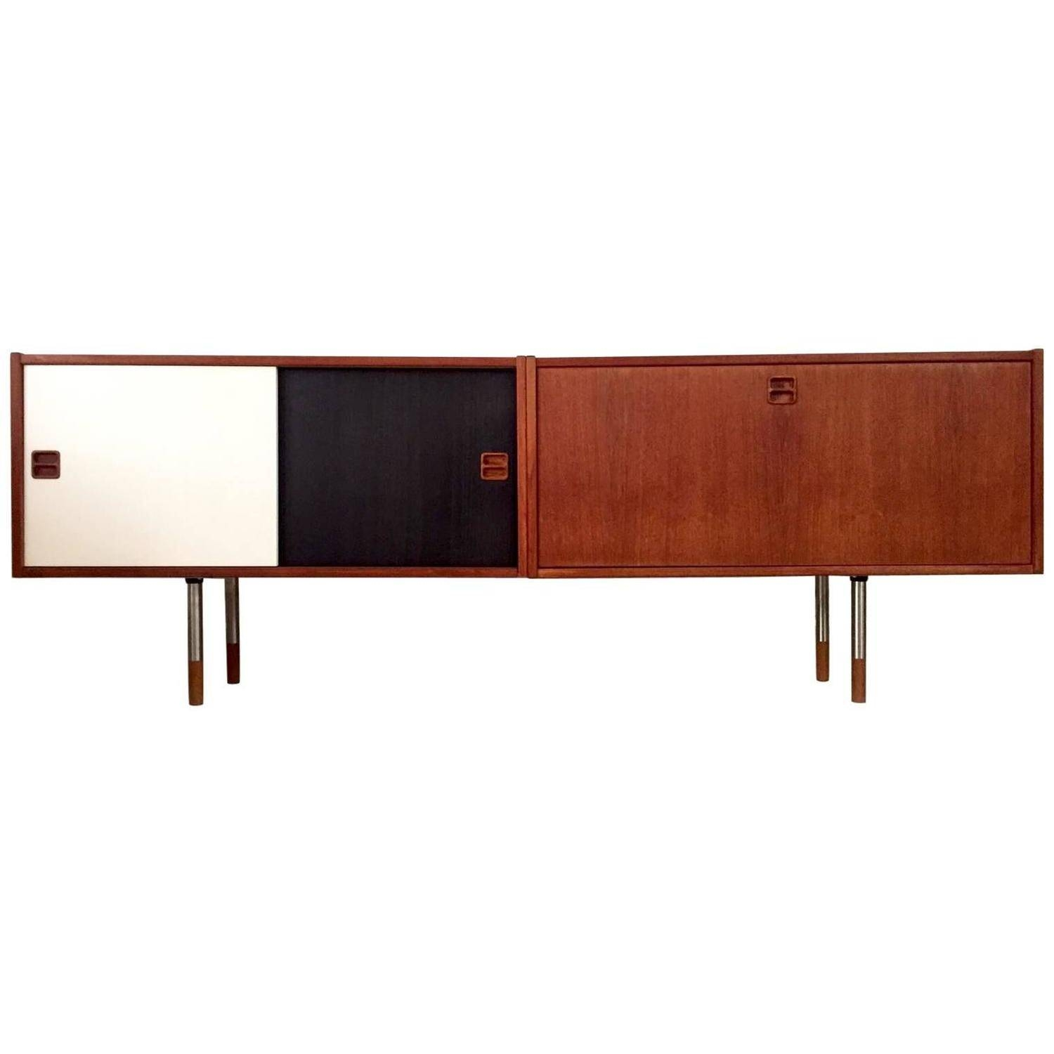 Low Mid Century Danish Sideboard With Black And White Sliding Inside Black Sideboard (View 8 of 20)