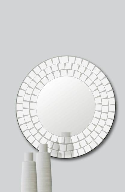 Lowest Price – Lovella 65Cm Diameter Mosaic Round Bevelled Glass In Round Bevelled Mirrors (#11 of 20)